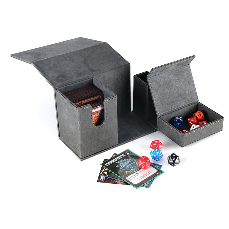 Triple magic deck box with alcove PU flip N tokens tray