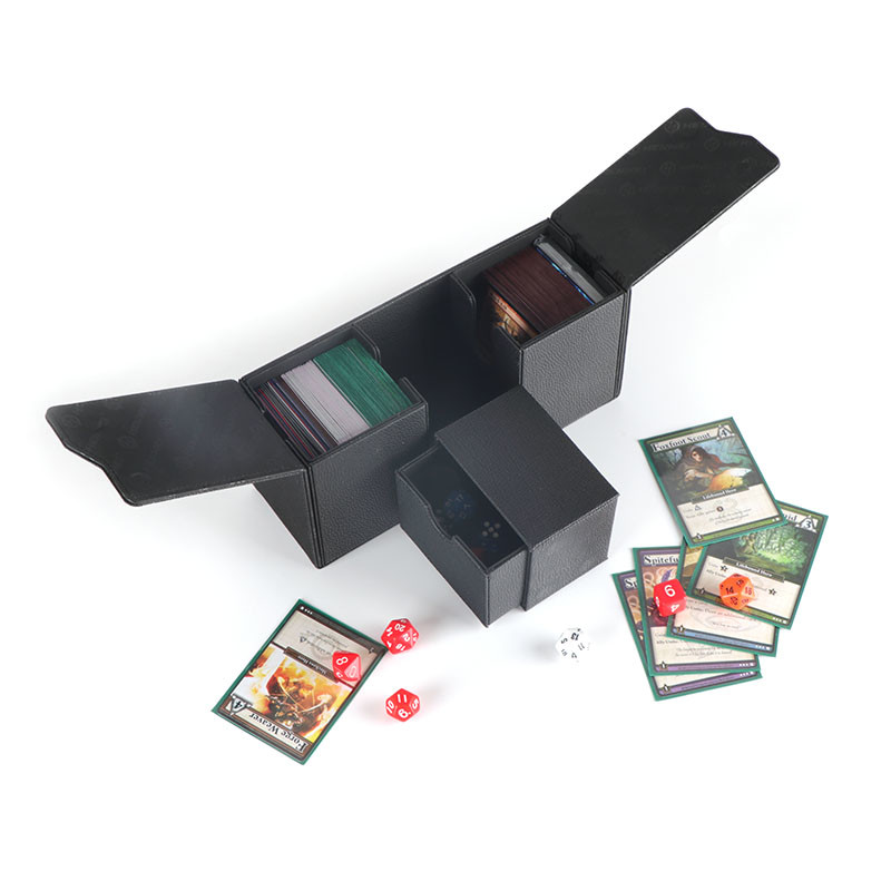 Triple card deck box magnetic closure deck protector with alcove flip N tokens tray