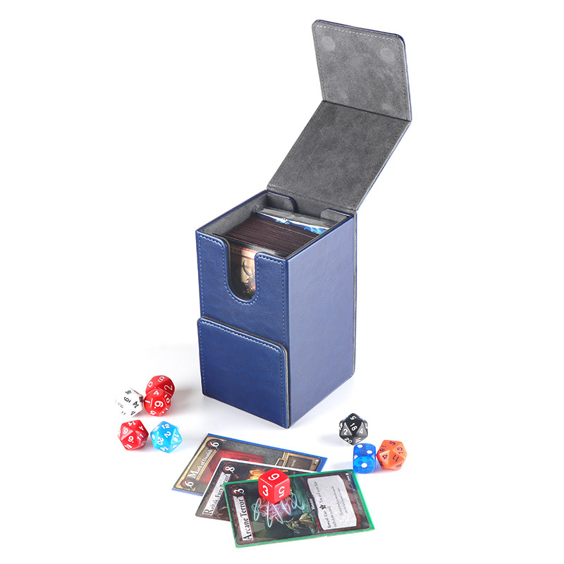 Best board game storage deck box premium PU deck protector with dice tokens trays