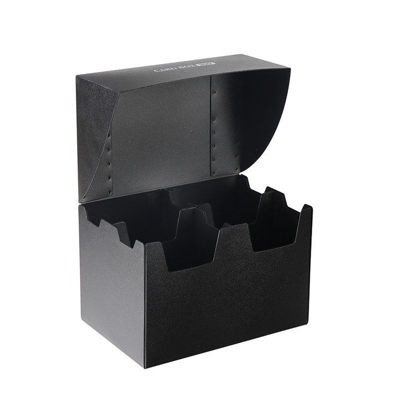 Black four-compartment 300+ capacity PP card box
