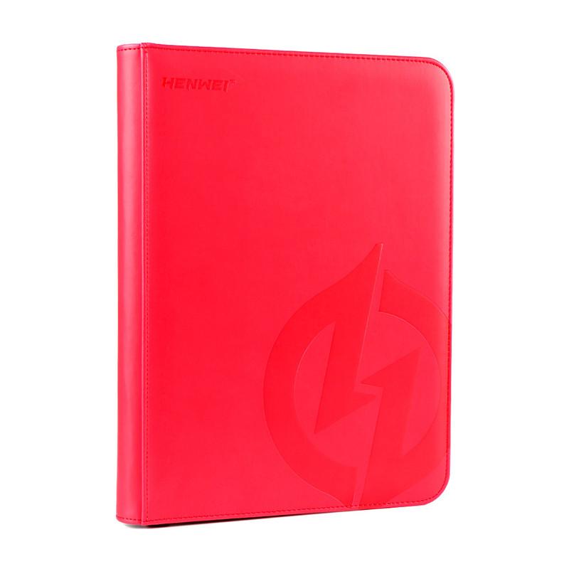 PU material red nine-pocket zipper binder