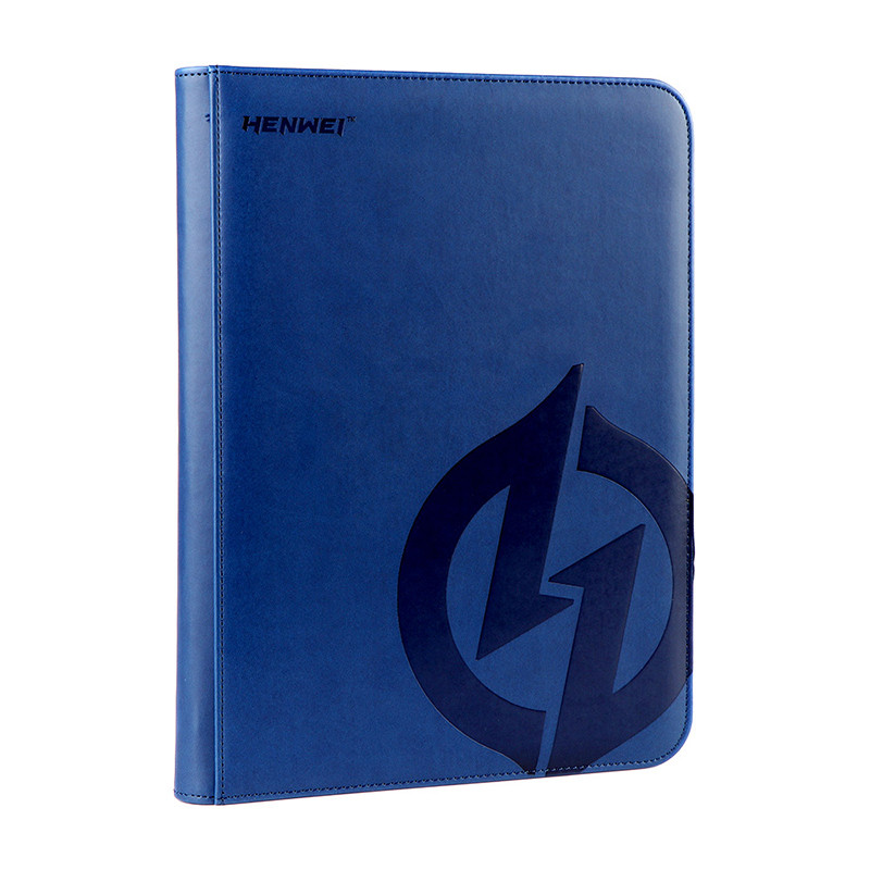 PU material blue nine-pocket zipper binder
