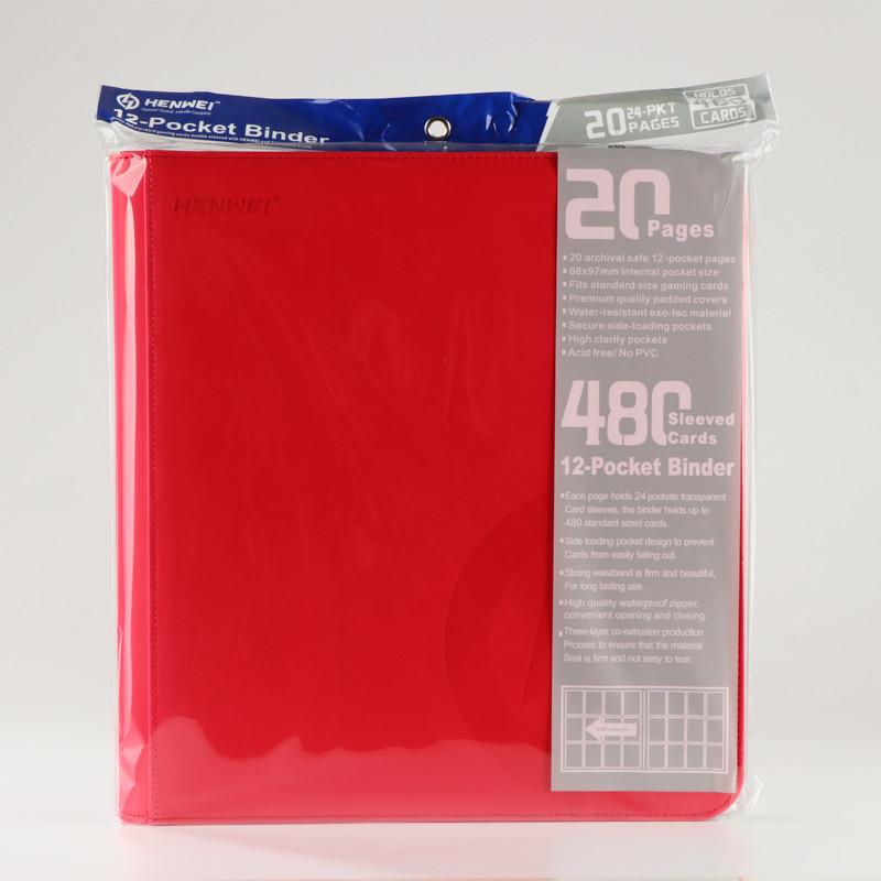 PU material red twelve pocket zipper binder