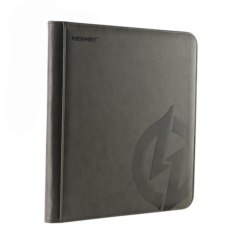 PU material gray twelve-pocket zipper binder