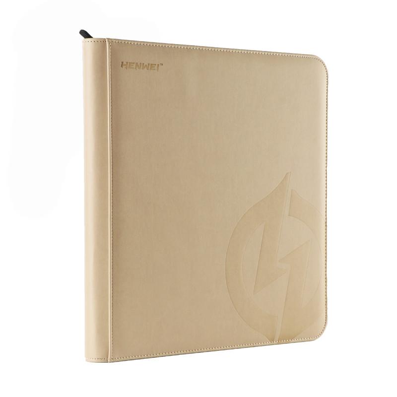 PU material beige twelve-pocket zipper binder