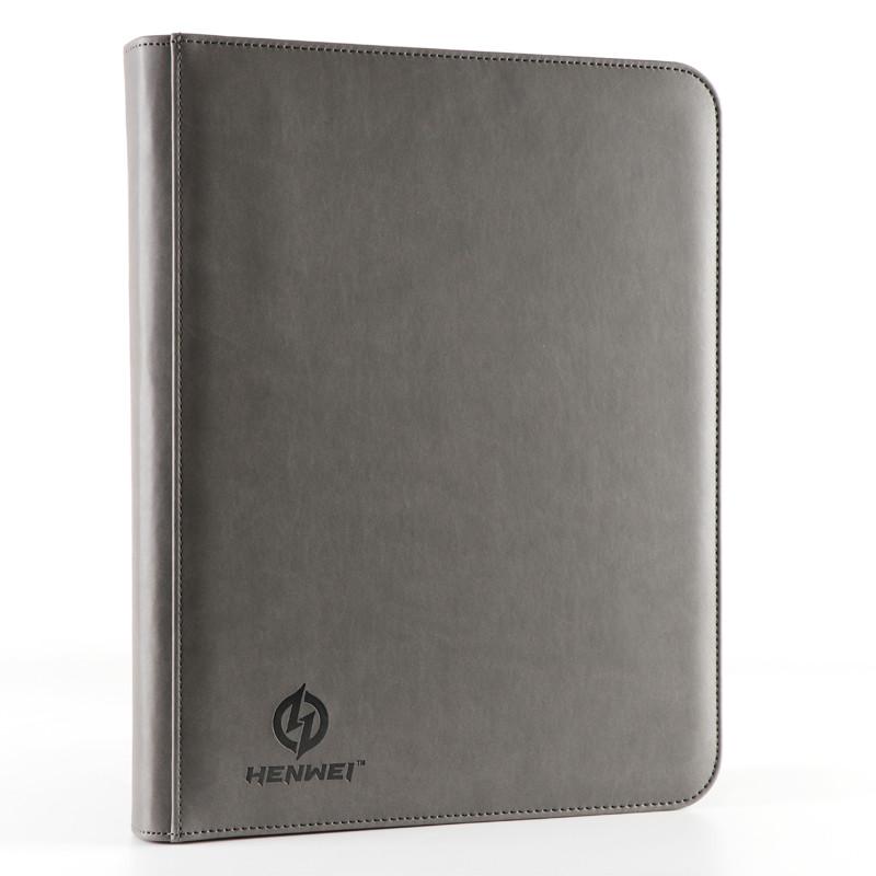 PU material gray nine-pocket zipper binder