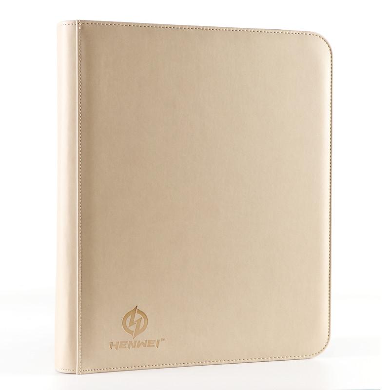 PU material beige nine-pocket zipper binder