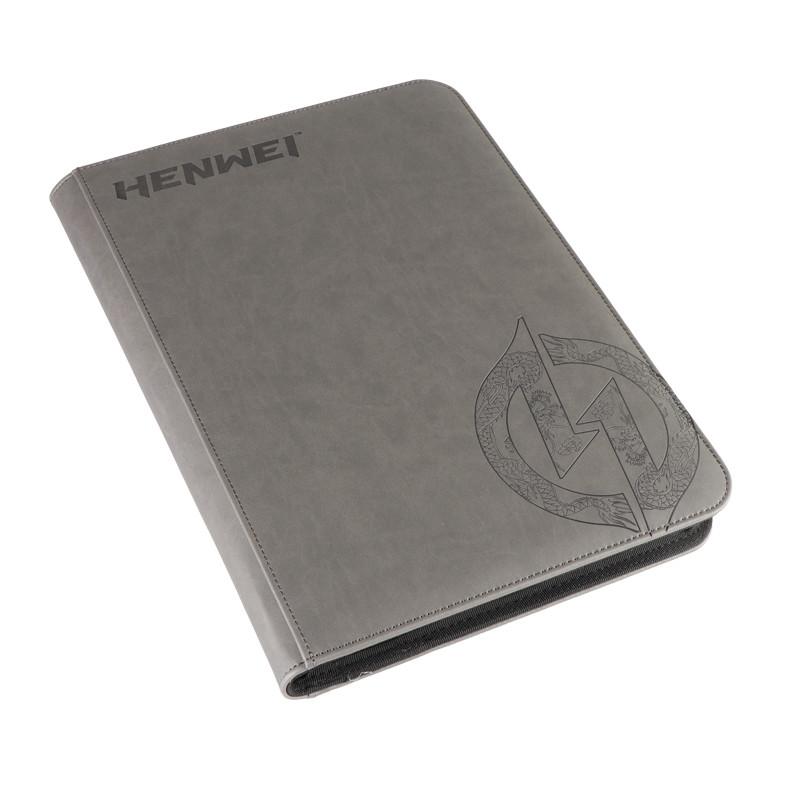 PU material gray zipper nine-pocket binder (with dragon pattern)