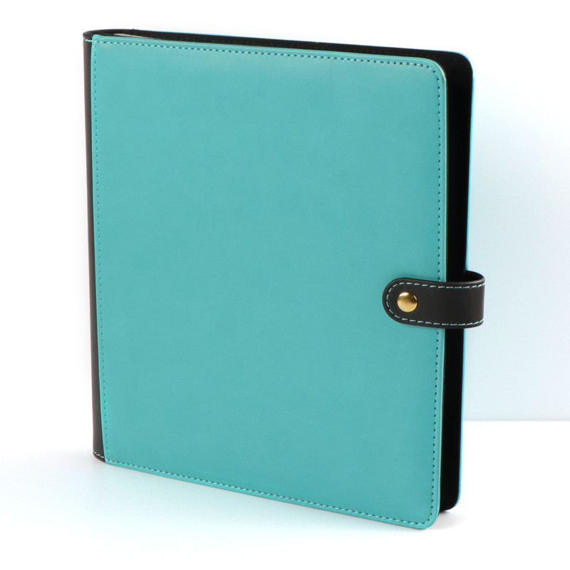 PU material button style two-pocket binder